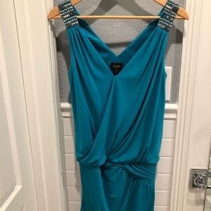 Laundry by Shelli Segal banded teal mini dress